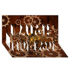 Steampunk In Rusty Metal Laugh Live Love 3d Greeting Card (8x4)