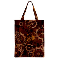 Steampunk In Rusty Metal Zipper Classic Tote Bags