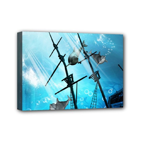 Underwater World With Shipwreck And Dolphin Mini Canvas 7  x 5
