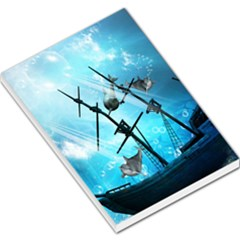 Underwater World With Shipwreck And Dolphin Large Memo Pads