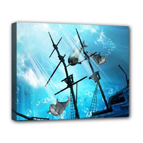 Underwater World With Shipwreck And Dolphin Deluxe Canvas 20  x 16