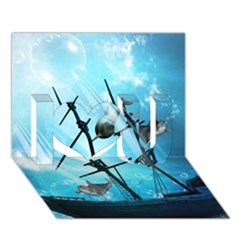 Underwater World With Shipwreck And Dolphin I Love You 3d Greeting Card (7x5)
