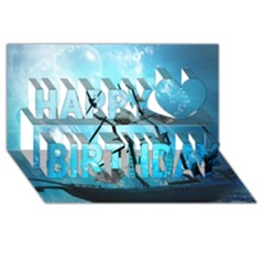 Underwater World With Shipwreck And Dolphin Happy Birthday 3d Greeting Card (8x4)