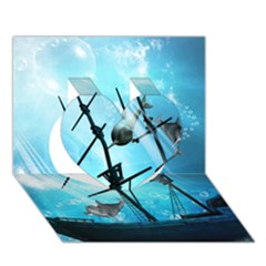 Underwater World With Shipwreck And Dolphin Heart 3d Greeting Card (7x5)