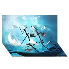 Underwater World With Shipwreck And Dolphin Twin Hearts 3D Greeting Card (8x4)