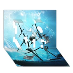 Underwater World With Shipwreck And Dolphin Love 3d Greeting Card (7x5)
