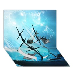 Underwater World With Shipwreck And Dolphin Circle Bottom 3D Greeting Card (7x5)