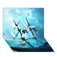 Underwater World With Shipwreck And Dolphin Clover 3D Greeting Card (7x5)