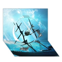 Underwater World With Shipwreck And Dolphin Circle 3D Greeting Card (7x5)