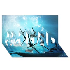 Underwater World With Shipwreck And Dolphin #1 DAD 3D Greeting Card (8x4)