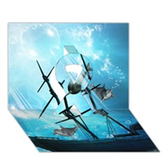 Underwater World With Shipwreck And Dolphin Ribbon 3D Greeting Card (7x5)