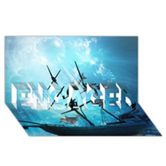 Underwater World With Shipwreck And Dolphin Engaged 3d Greeting Card (8x4)