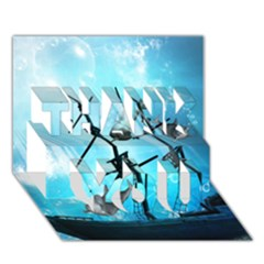 Underwater World With Shipwreck And Dolphin THANK YOU 3D Greeting Card (7x5)