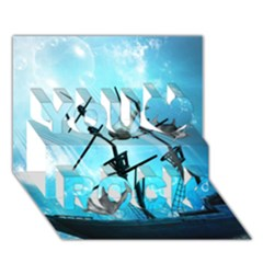 Underwater World With Shipwreck And Dolphin You Rock 3d Greeting Card (7x5)