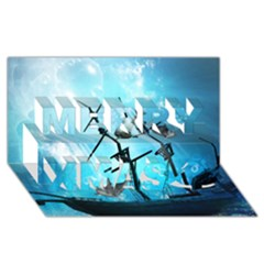 Underwater World With Shipwreck And Dolphin Merry Xmas 3D Greeting Card (8x4)
