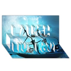 Underwater World With Shipwreck And Dolphin Laugh Live Love 3D Greeting Card (8x4)