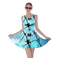 Underwater World With Shipwreck And Dolphin Skater Dresses