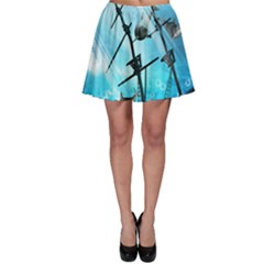Underwater World With Shipwreck And Dolphin Skater Skirts