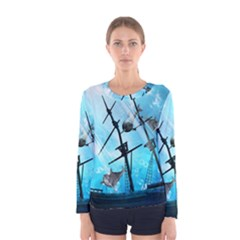 Underwater World With Shipwreck And Dolphin Women s Long Sleeve T-shirts