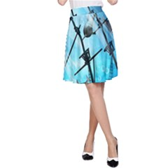 Underwater World With Shipwreck And Dolphin A-Line Skirts