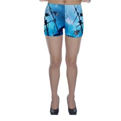 Underwater World With Shipwreck And Dolphin Skinny Shorts