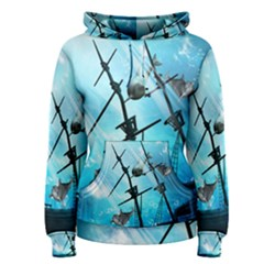Underwater World With Shipwreck And Dolphin Women s Pullover Hoodies
