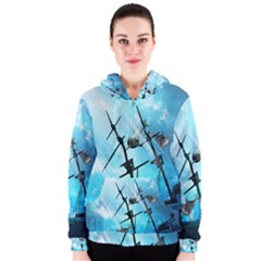 Underwater World With Shipwreck And Dolphin Women s Zipper Hoodies