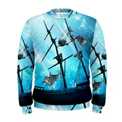 Underwater World With Shipwreck And Dolphin Men s Sweatshirts