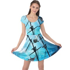 Underwater World With Shipwreck And Dolphin Cap Sleeve Dresses