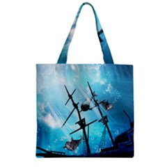 Underwater World With Shipwreck And Dolphin Zipper Grocery Tote Bags