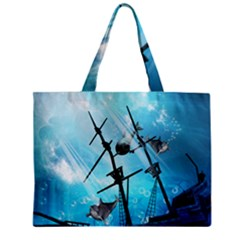 Underwater World With Shipwreck And Dolphin Zipper Tiny Tote Bags