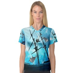 Underwater World With Shipwreck And Dolphin Women s V Neck Sport Mesh Tee