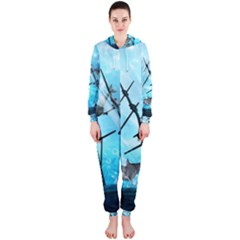 Underwater World With Shipwreck And Dolphin Hooded Jumpsuit (Ladies)