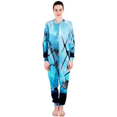 Underwater World With Shipwreck And Dolphin OnePiece Jumpsuit (Ladies)