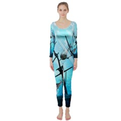 Underwater World With Shipwreck And Dolphin Long Sleeve Catsuit