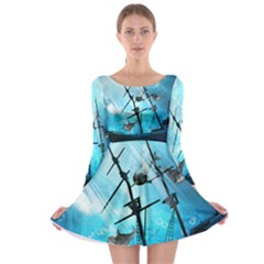 Underwater World With Shipwreck And Dolphin Long Sleeve Skater Dress