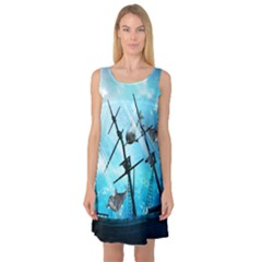 Underwater World With Shipwreck And Dolphin Sleeveless Satin Nightdresses