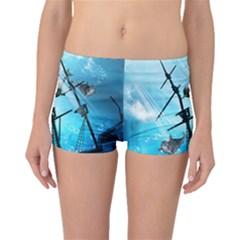 Underwater World With Shipwreck And Dolphin Boyleg Bikini Bottoms