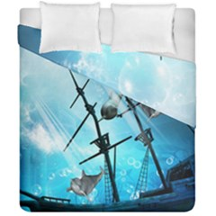 Underwater World With Shipwreck And Dolphin Duvet Cover (double Size)