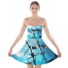 Underwater World With Shipwreck And Dolphin Strapless Bra Top Dress