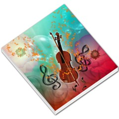 Violin With Violin Bow And Key Notes Small Memo Pads