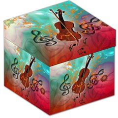 Violin With Violin Bow And Key Notes Storage Stool 12