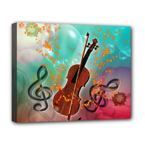 Violin With Violin Bow And Key Notes Deluxe Canvas 20  x 16