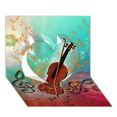 Violin With Violin Bow And Key Notes Heart 3D Greeting Card (7x5)