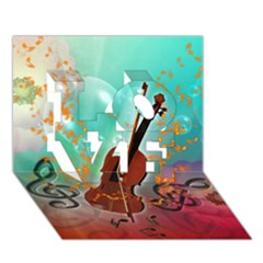 Violin With Violin Bow And Key Notes Love 3d Greeting Card (7x5)