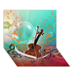 Violin With Violin Bow And Key Notes Heart Bottom 3D Greeting Card (7x5)