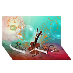 Violin With Violin Bow And Key Notes Twin Heart Bottom 3d Greeting Card (8x4)