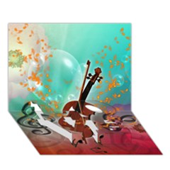 Violin With Violin Bow And Key Notes Love Bottom 3d Greeting Card (7x5)