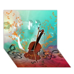 Violin With Violin Bow And Key Notes Apple 3D Greeting Card (7x5)