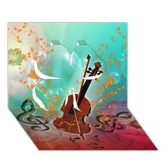 Violin With Violin Bow And Key Notes Clover 3d Greeting Card (7x5)
